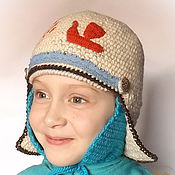 Работы для детей, ручной работы. Ярмарка Мастеров - ручная работа Детская вязаная шапка-шлем двойная Ладья-птица для девочки. Handmade.