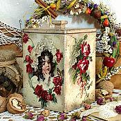 """Для дома и интерьера ручной работы. Ярмарка Мастеров - ручная работа короб для сладостей """"Девочка и розы"""". Handmade."""