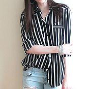 Одежда ручной работы. Ярмарка Мастеров - ручная работа Рубашка в черно-белую полоску. Handmade.