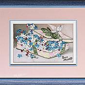 Картины и панно ручной работы. Ярмарка Мастеров - ручная работа Картина вышитая лентами и гладью. Handmade.