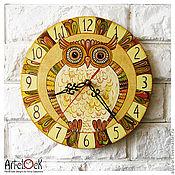 """Для дома и интерьера ручной работы. Ярмарка Мастеров - ручная работа Часы настенные """"Сова"""". часы ручной работы, часы расписные. Handmade."""