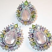 Серьги кольцо розовый кварц серебро
