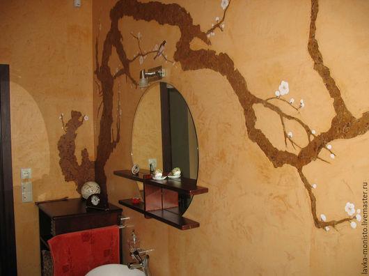 Декор поверхностей ручной работы. Ярмарка Мастеров - ручная работа. Купить Декор стен ванной комнаты, венецианская штукатурка. Handmade.