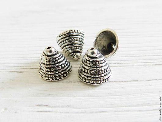 Шапочка концевик Спираль античное серебро, размер 14*13 мм, отверстие 1 мм, материал - сплав металлов (арт. 1293)