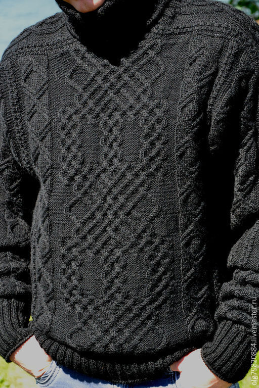 """Для мужчин, ручной работы. Ярмарка Мастеров - ручная работа. Купить Теплый мужской свитер из шерсти """"Узорчатый"""". Handmade. Черный"""