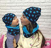 """Работы для детей, ручной работы. Ярмарка Мастеров - ручная работа Комплект шапка и снуд """"лапки голубые"""". Handmade."""