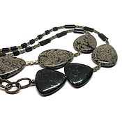 Украшения handmade. Livemaster - original item Necklace snow obsidian natural, Jasper, pyrite, metal accessories USA. Handmade.