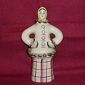 Винтаж handmade. Livemaster - original item GIRL IN FUR JACKET . Old Gzhel. Handmade.