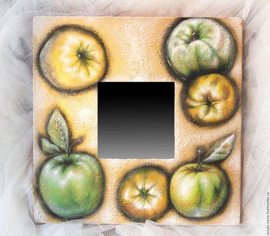 Натюрморт ручной работы. Ярмарка Мастеров - ручная работа. Купить Зеркало Яблоки в золоте. Handmade. Золотой, яблоки, ручная работа