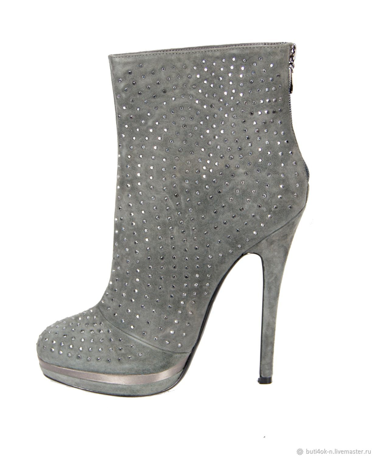Gray boots made of velour, decorated with rhinestones, Vintage shoes, Nelidovo,  Фото №1