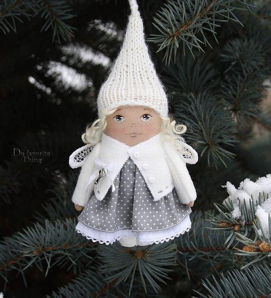Коллекционные куклы ручной работы. Ярмарка Мастеров - ручная работа. Купить Елочная игрушка - зимний:) ангел. Handmade. Новогодний сувенир