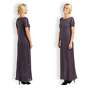 Одежда ручной работы. Ярмарка Мастеров - ручная работа Шерстяное платье-трапеция, фиолетовое. Handmade.