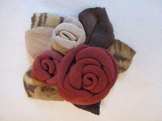 Броши ручной работы. Ярмарка Мастеров - ручная работа. Купить букет роз. Handmade. Кожа, замша