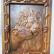 Картины и панно ручной работы. Ярмарка Мастеров - ручная работа Лев и львица. Панно №1. Handmade.