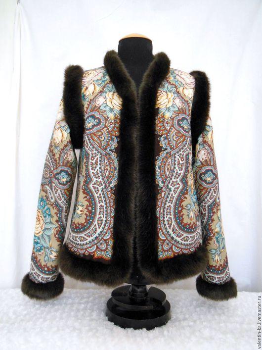 Пиджаки, жакеты ручной работы. Ярмарка Мастеров - ручная работа. Купить Жакет-трансформер из павлопосадского платка ИСПАНСКОЕ ВИНО. Handmade.