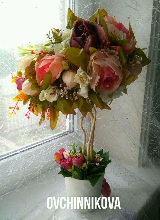 """Топиарии ручной работы. Ярмарка Мастеров - ручная работа. Купить Топиарий""""Цветочный вальс"""". Handmade. Топиарий, цветы, цветочная композиция, Декор"""