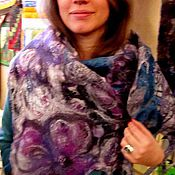 """Аксессуары ручной работы. Ярмарка Мастеров - ручная работа Валяный шарф-палантин """"Иллюзия"""" в технике нуно-войлок. Handmade."""