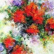 Картины и панно handmade. Livemaster - original item Palette knife painting on canvas. Flower painting. Red flowers. Handmade.