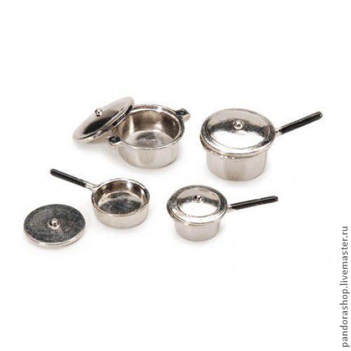 Набор кастрюль с крышками металлический 4х2,5 - 3х1,5 (4 шт.), цвет серебро, миниатюра - 350.00