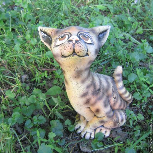 """Элементы интерьера ручной работы. Ярмарка Мастеров - ручная работа. Купить Кошка """"Гжелка"""". Handmade. Комбинированный, керамический кот, интерьер"""
