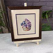 Картины и панно handmade. Livemaster - original item Picture cross embroidered Blueberry cupcake. Handmade.