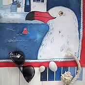 Аксессуары ручной работы. Ярмарка Мастеров - ручная работа Шелковый платок с росписью (батик) - В синем море. Handmade.