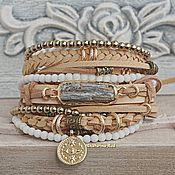 Украшения handmade. Livemaster - original item BOHO style leather bracelet with hematite