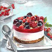 Картины и панно handmade. Livemaster - original item Pictures: Berry souffle. Dessert.. Handmade.
