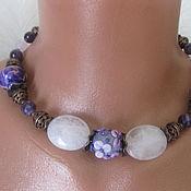 handmade. Livemaster - original item Necklace choker Boho Lampwork Amethyst Rose quartz Ceramics. Handmade.