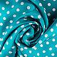 """Шитье ручной работы. Ярмарка Мастеров - ручная работа. Купить Итальянская ткань, шелк 100%, """"Горох"""". Handmade. Бирюзовый, ткань"""