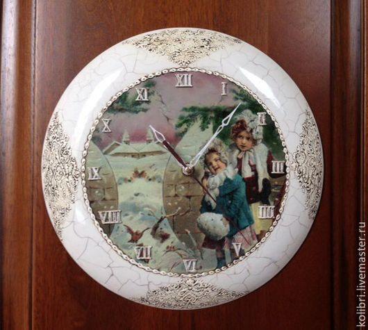 """Часы для дома ручной работы. Ярмарка Мастеров - ручная работа. Купить Часы """"Сестренки"""". Handmade. Часы, винтаж, роспись, кракелюр"""