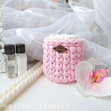 Для дома и интерьера ручной работы. Ярмарка Мастеров - ручная работа Розовый. Баночка для ватных палочек из трикотажной пряжи розовая. Handmade.