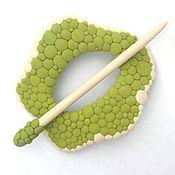 Украшения handmade. Livemaster - original item Barrette Pistachio (fibula, shawl pin, green). Handmade.