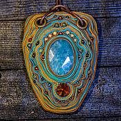 Кулон с камнем Аквамарин и кристаллом Сваровски 8марта