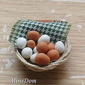 Куклы и игрушки handmade. Livemaster - original item Eggs in a basket Dollhouse miniature Food for dolls. Handmade.