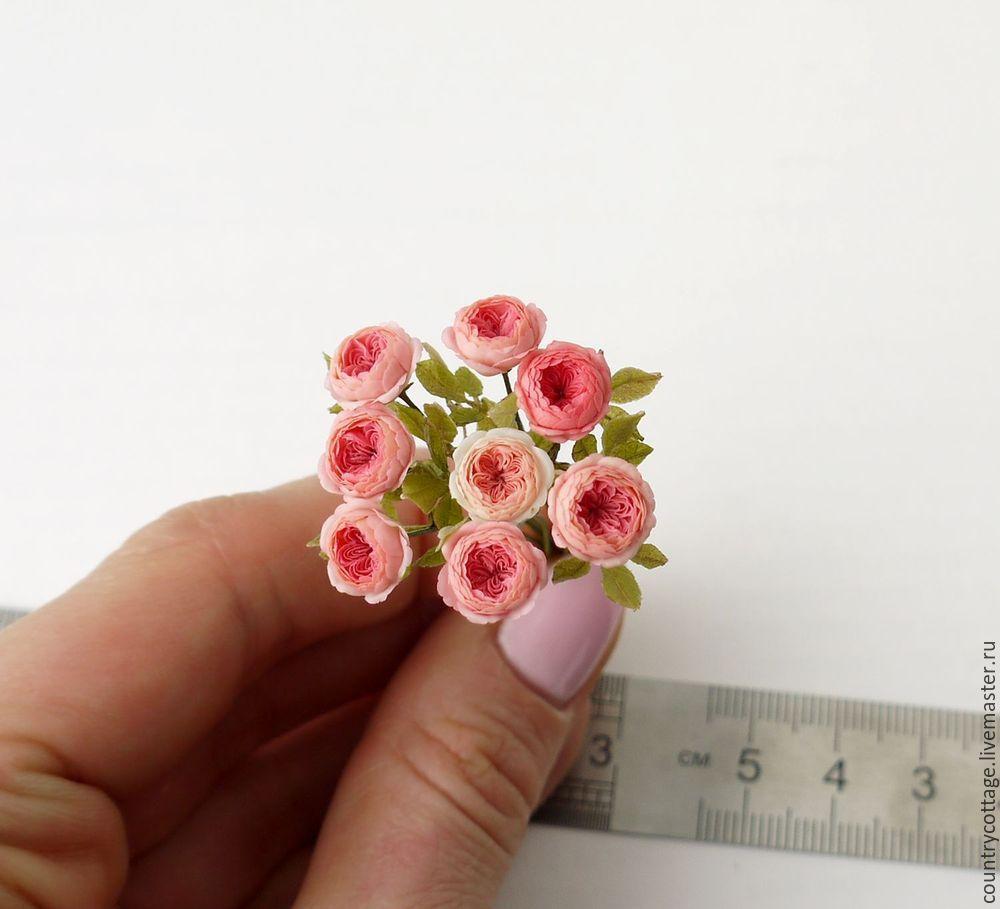 Пионовидные розы в масштабе 1 к 12 сложной расцветки, Миниатюрные игрушки, Троицк, Фото №1