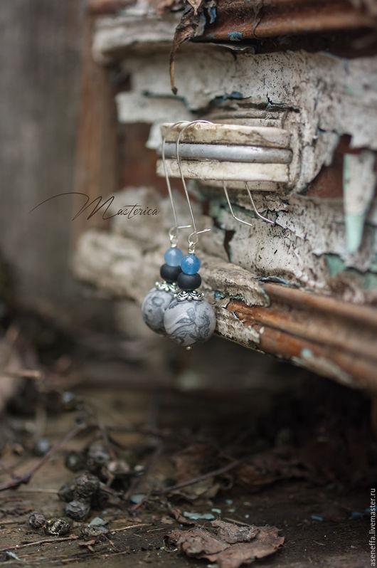 """Серьги ручной работы. Ярмарка Мастеров - ручная работа. Купить Серьги """"Ледяные"""". Handmade. Комбинированный, серьги с камнями, отличный подарок"""