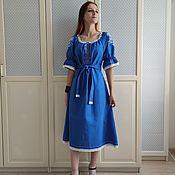 Одежда handmade. Livemaster - original item Blue linen dress with Yaroslava embroidery (midi). Handmade.