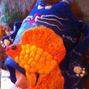 """Для дома и интерьера ручной работы. Ярмарка Мастеров - ручная работа Шапка валяная """"КОТ с рыбкой"""". Handmade."""