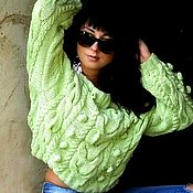 Одежда handmade. Livemaster - original item Mint sweater with dropped shoulders with bumps. Handmade.