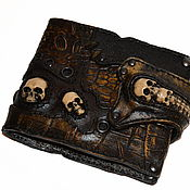 Сумки и аксессуары handmade. Livemaster - original item Leather purse with skulls. Handmade.