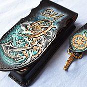 Сумки и аксессуары handmade. Livemaster - original item Holster case for phone with steering wheel. Handmade.