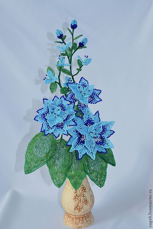 Цветы ручной работы. Ярмарка Мастеров - ручная работа. Купить Компазиция Amore. Handmade. Голубой, цветы из бисера, композиция из цветов