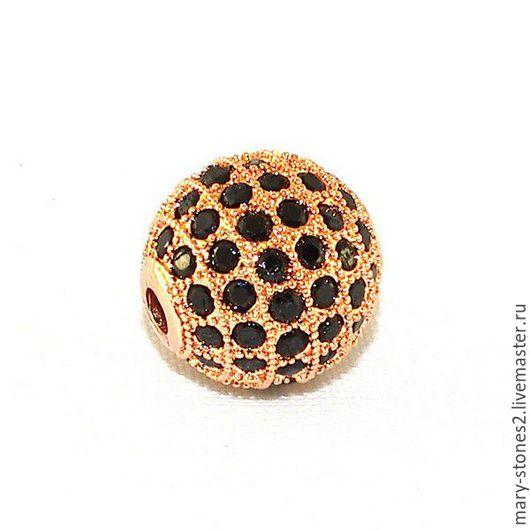 Для украшений ручной работы. Ярмарка Мастеров - ручная работа. Купить Бусина шар 12мм с черными фианитами, красное золото (Milano). Handmade.