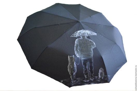 """Зонты ручной работы. Ярмарка Мастеров - ручная работа. Купить Зонт с ручной росписью """"Силуэты"""". Handmade. Черный, зонт с рисунком"""