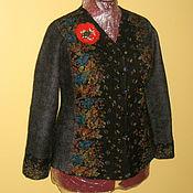 Одежда ручной работы. Ярмарка Мастеров - ручная работа Валяный пиджак чёрный в цветочек кофта. Handmade.