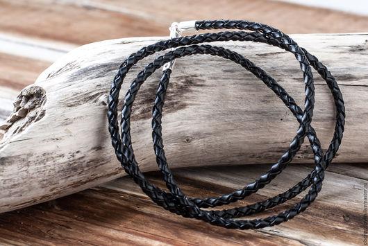 Для украшений ручной работы. Ярмарка Мастеров - ручная работа. Купить Кожаный шнур. Handmade. Черный, шнур для украшений, кожа