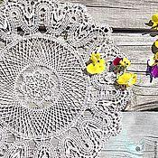"""Для дома и интерьера ручной работы. Ярмарка Мастеров - ручная работа Салфетка декоративная кружевная """"Льняное солнце"""". Handmade."""