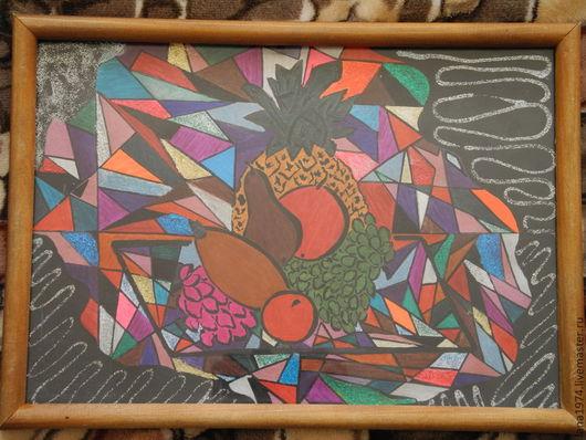 Абстракция ручной работы. Ярмарка Мастеров - ручная работа. Купить Натюрморт с фруктами. Handmade. Картина, фрукты, радость, карандаши, ручка
