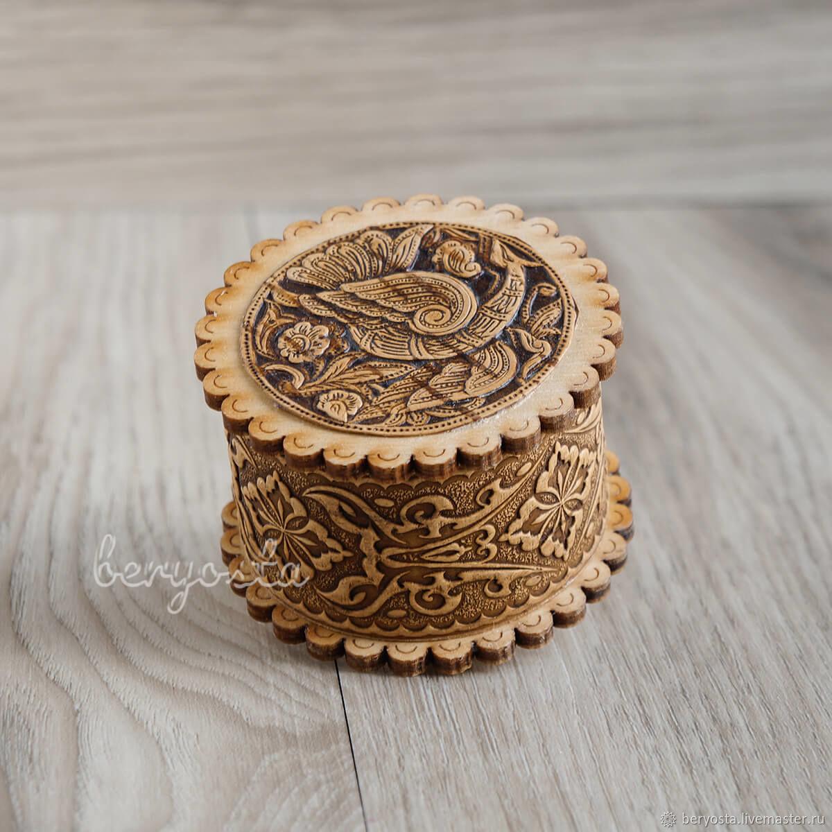 Jewelry box ' Bird'. Casket for rings, earrings from birch bark, Box, Novosibirsk,  Фото №1